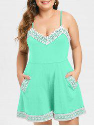 Plus Size Lace Trim Cami Romper -