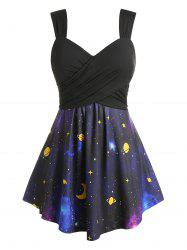 Plus Size Galaxy Planet Print Crossover Square Back Tunic Tank Top -