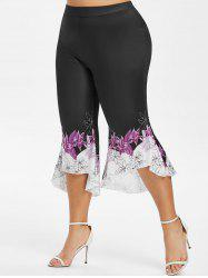 High Low Hem Capri Floral Plus Size Flare Pants -
