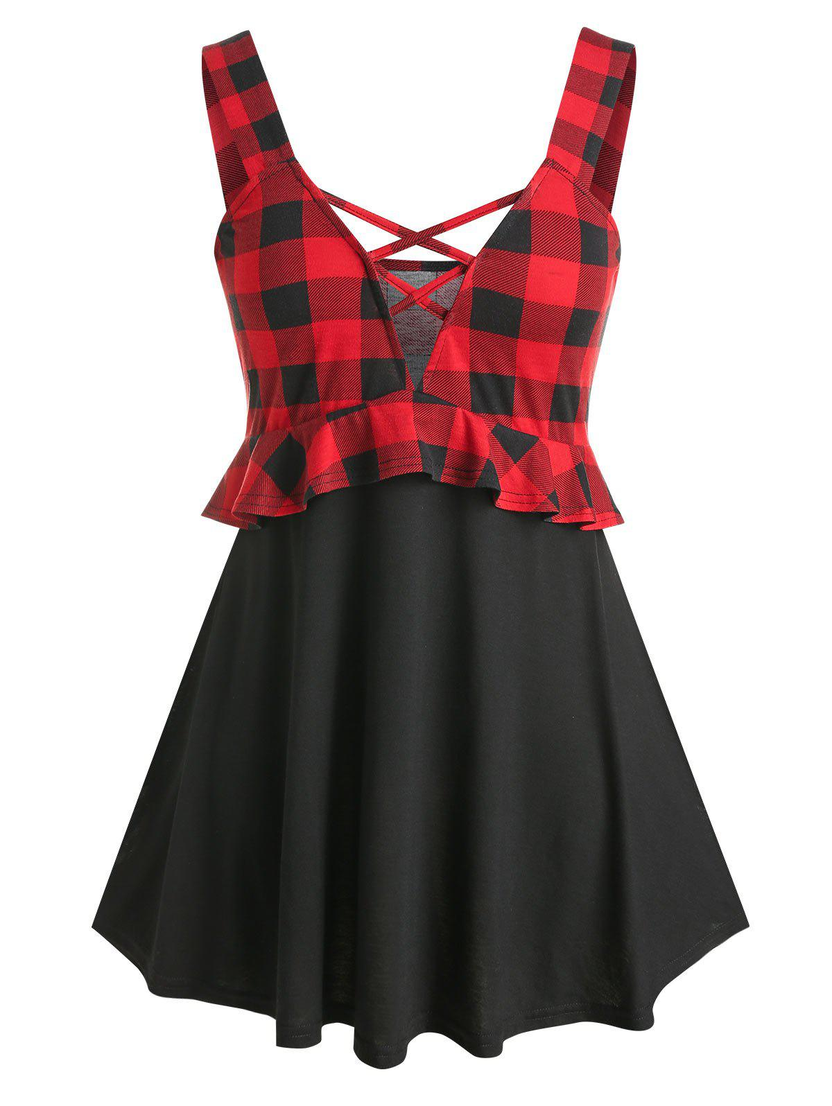 Hot Plus Size Plaid Pattern Criss Cross Tank Top
