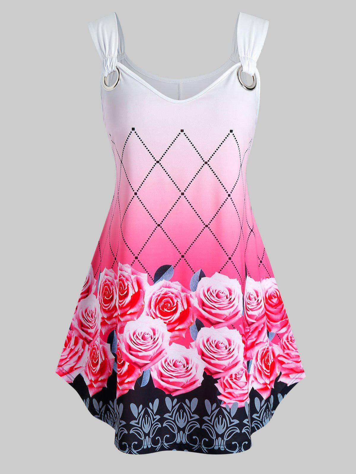 Discount Plus Size Ombre Floral Print Swing Tank Top