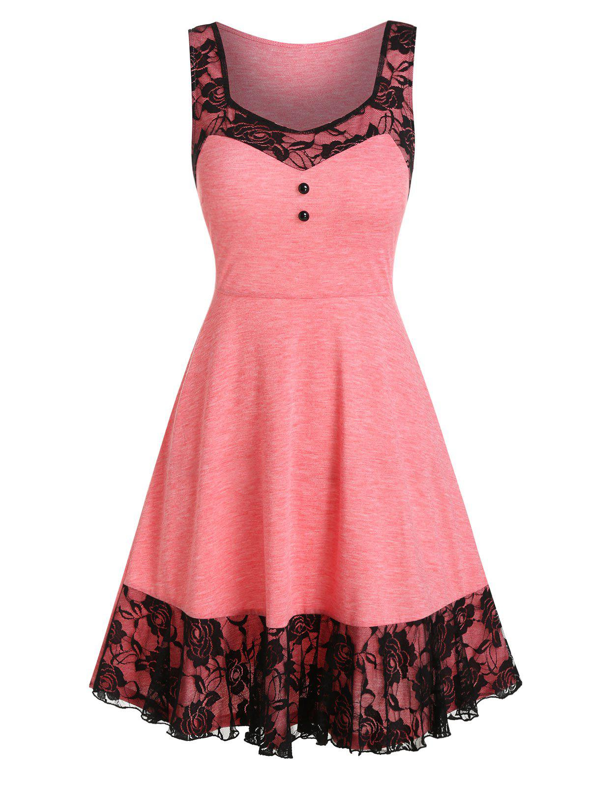 Shops Lace Panel Mock Button Sleeveless A Line Dress