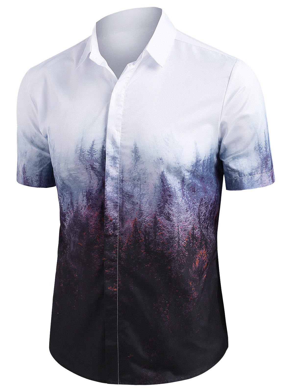 Best Misty Forest Print Button Up Short Sleeve Shirt