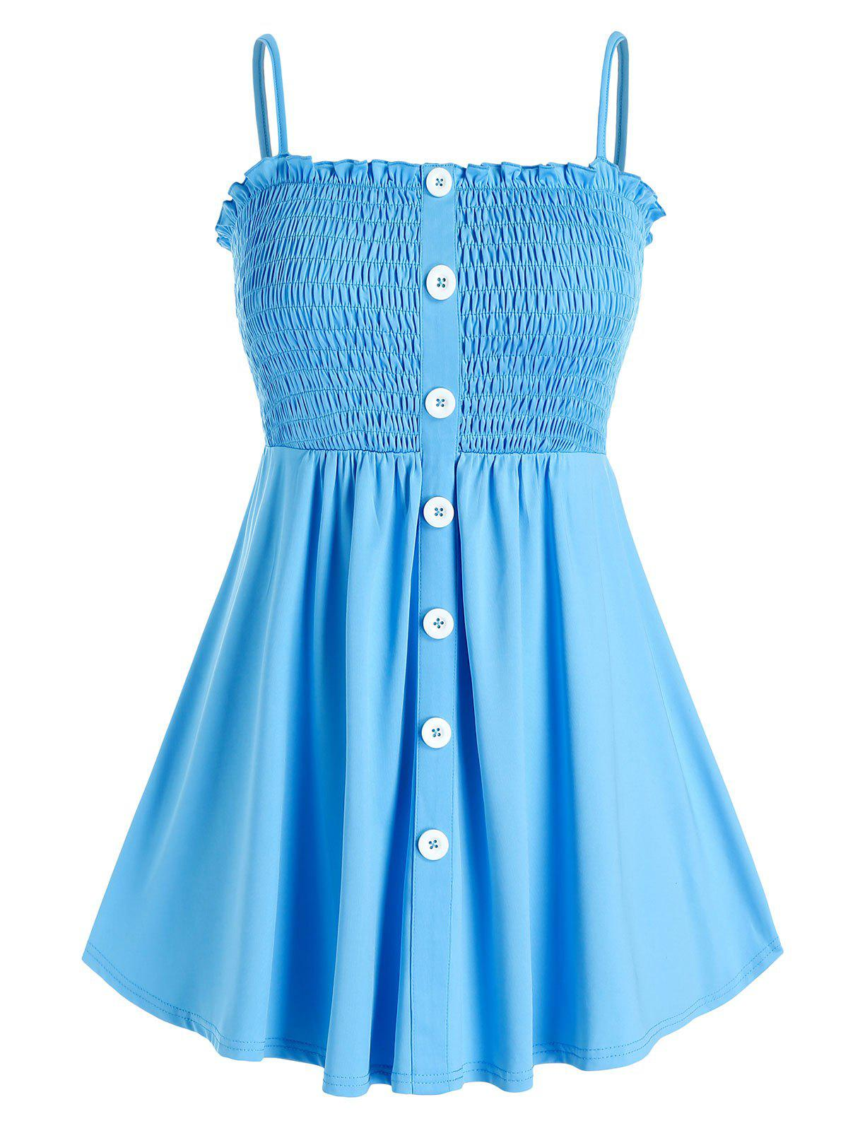 Shops Plus Size Smocked Button Front Frilled Backless Cami Top