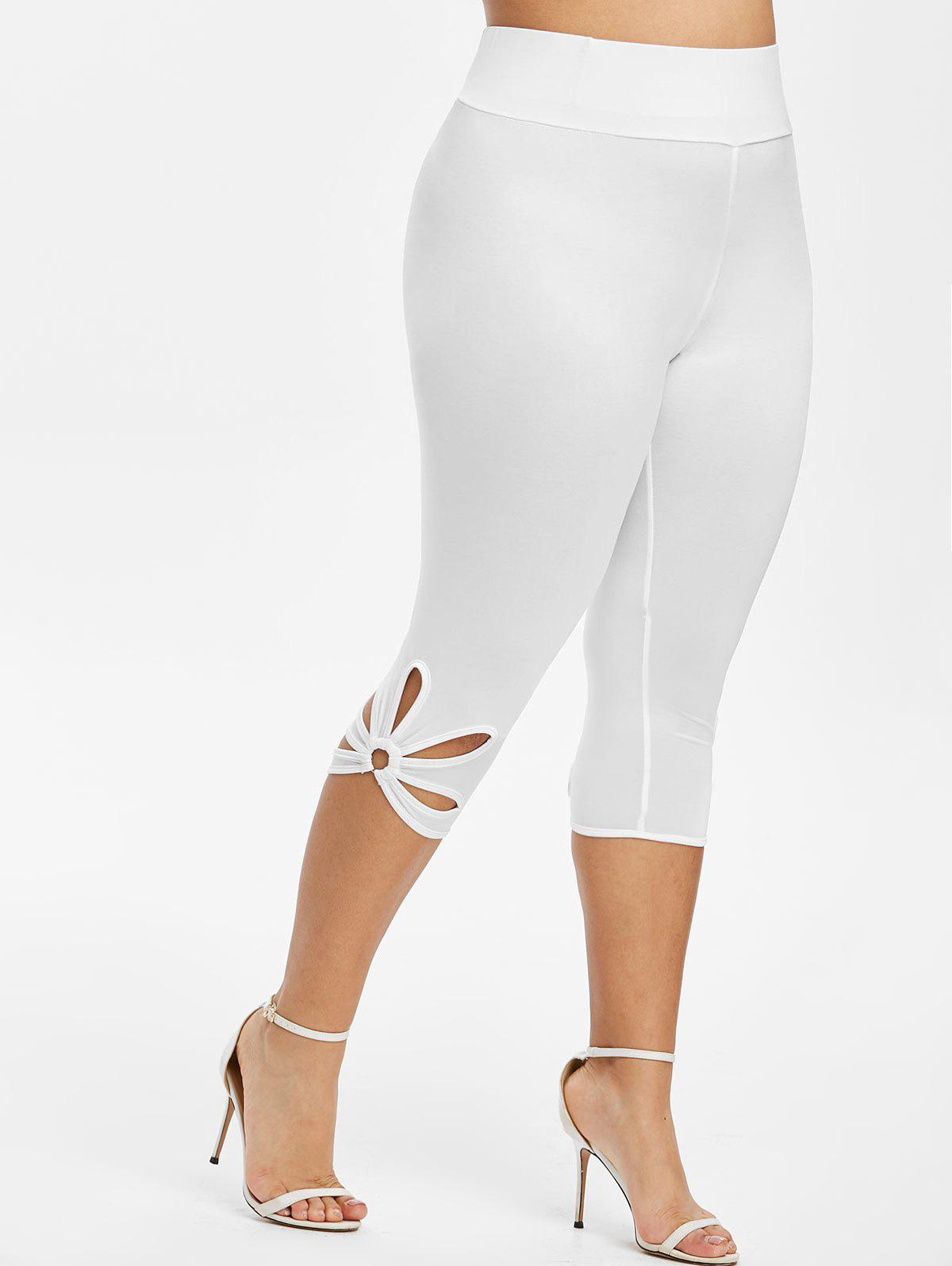 Cheap Capri Metal Ring Cut Out Plus Size Leggings