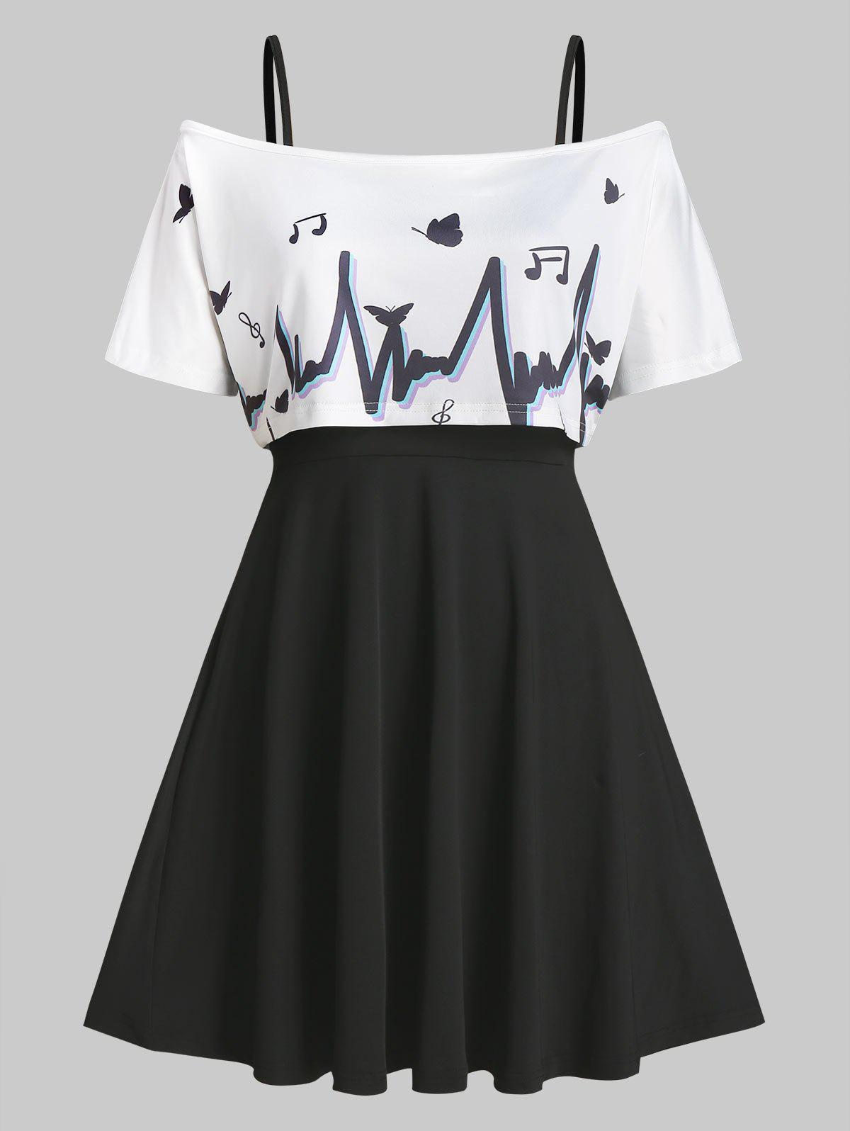 Buy Off The Shoulder Graphic Top and Cami Dress Set