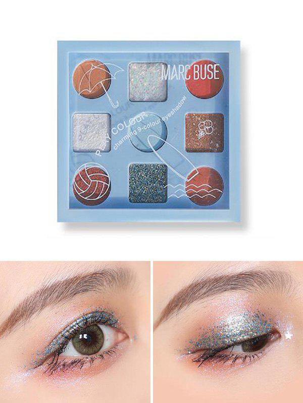 Trendy 9 Color Matte Sequins Waterproof Eyeshadow Kit