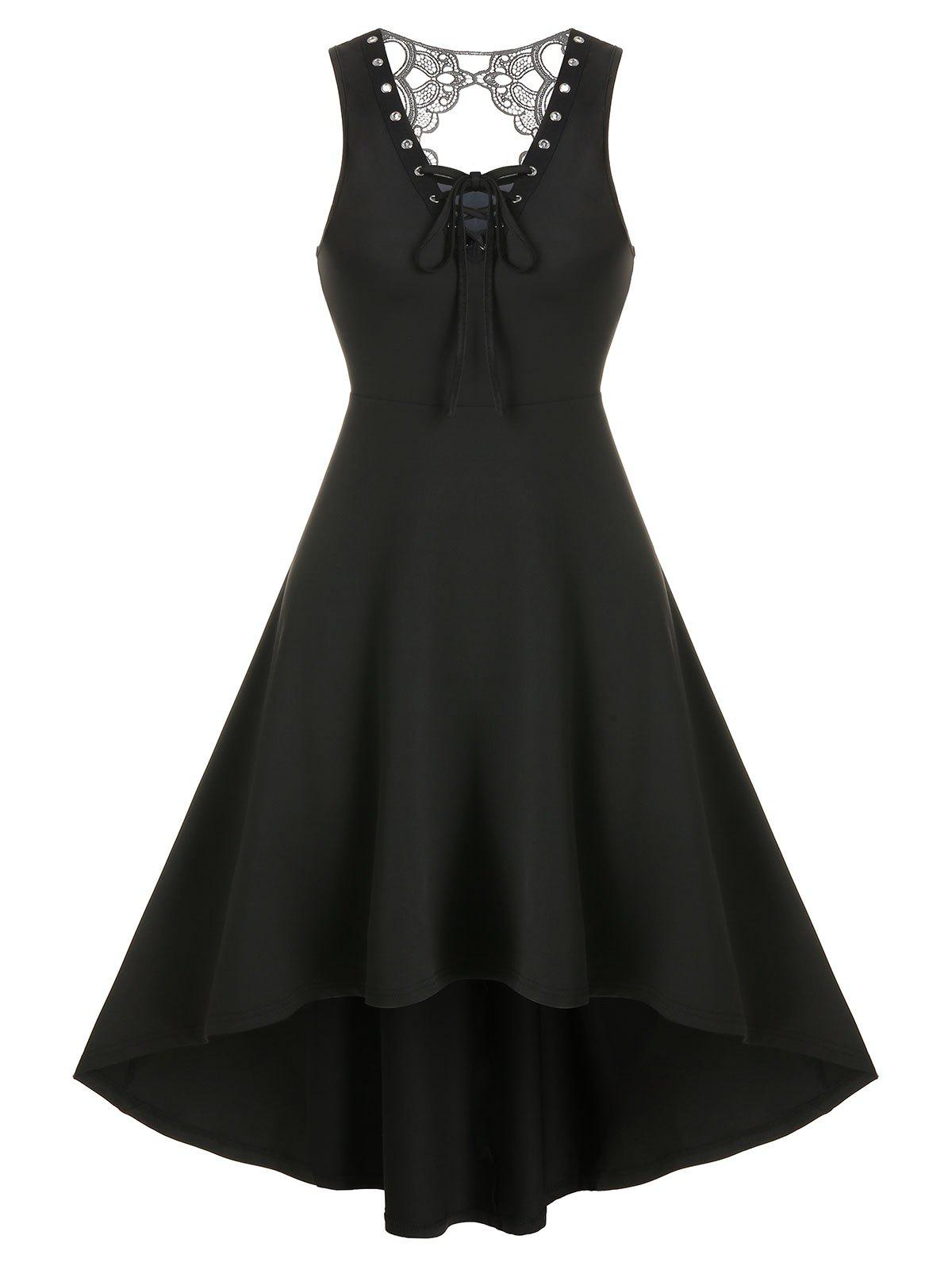 Fancy Lace Insert Lace-up Sleeveless High Low Gothic Dress