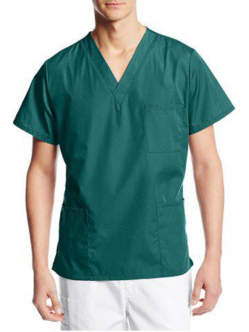 V Neck Pockets Short Sleeve Scrub Shirt