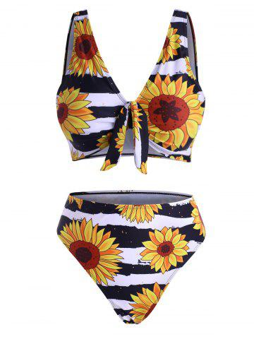 Sunflower Floral Print Knot High Waisted Bikini Swimwear