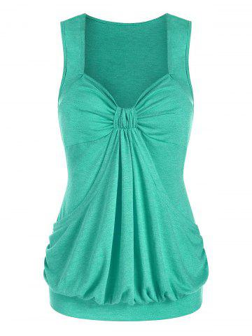 Heathered Ruched Blouson Tank Top - MEDIUM TURQUOISE - 2XL