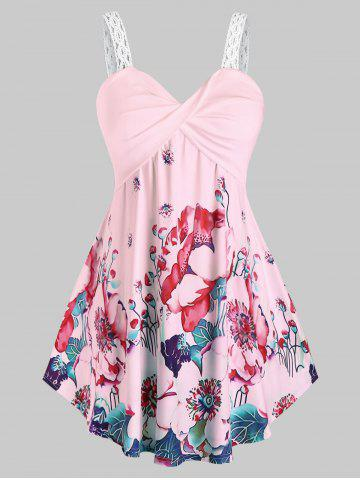 Plus Size Twisted Floral Print Tank Top - LIGHT PINK - 3X