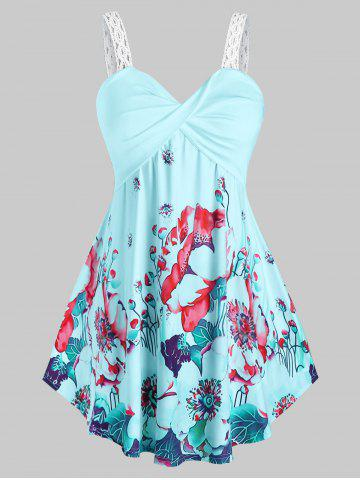 Plus Size Twisted Floral Print Tank Top - LIGHT BLUE - 3X