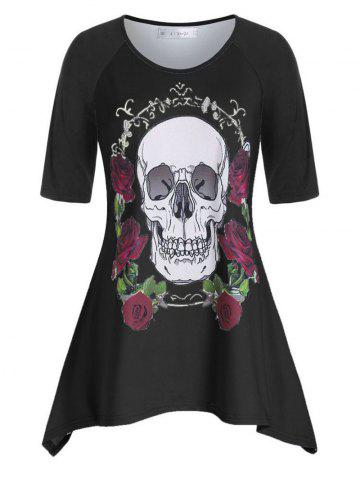 Plus Size Raglan Sleeve Rose Skull Asymmetric T Shirt