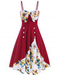 Knotted Sunflower Mock Buttons Cami Dress -