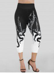 High Rise Octopus Print Cropped Leggings -
