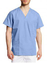 V Neck Pockets Short Sleeve Scrub Shirt -