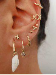 Conch Beads Stud And Ear Cuff Earring Set -