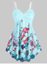 Plus Size Twisted Floral Print Tank Top -