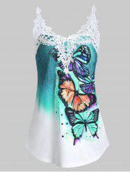 Butterfly Print Contrast Lace Panel Tank Top -