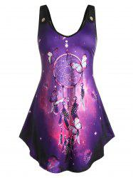 Plus Size Galaxy Dreamcatcher Print Swing Tank Top -