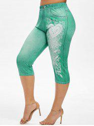 Plus Size 3D Pattern Leaf Capri High Waisted Jeggings -