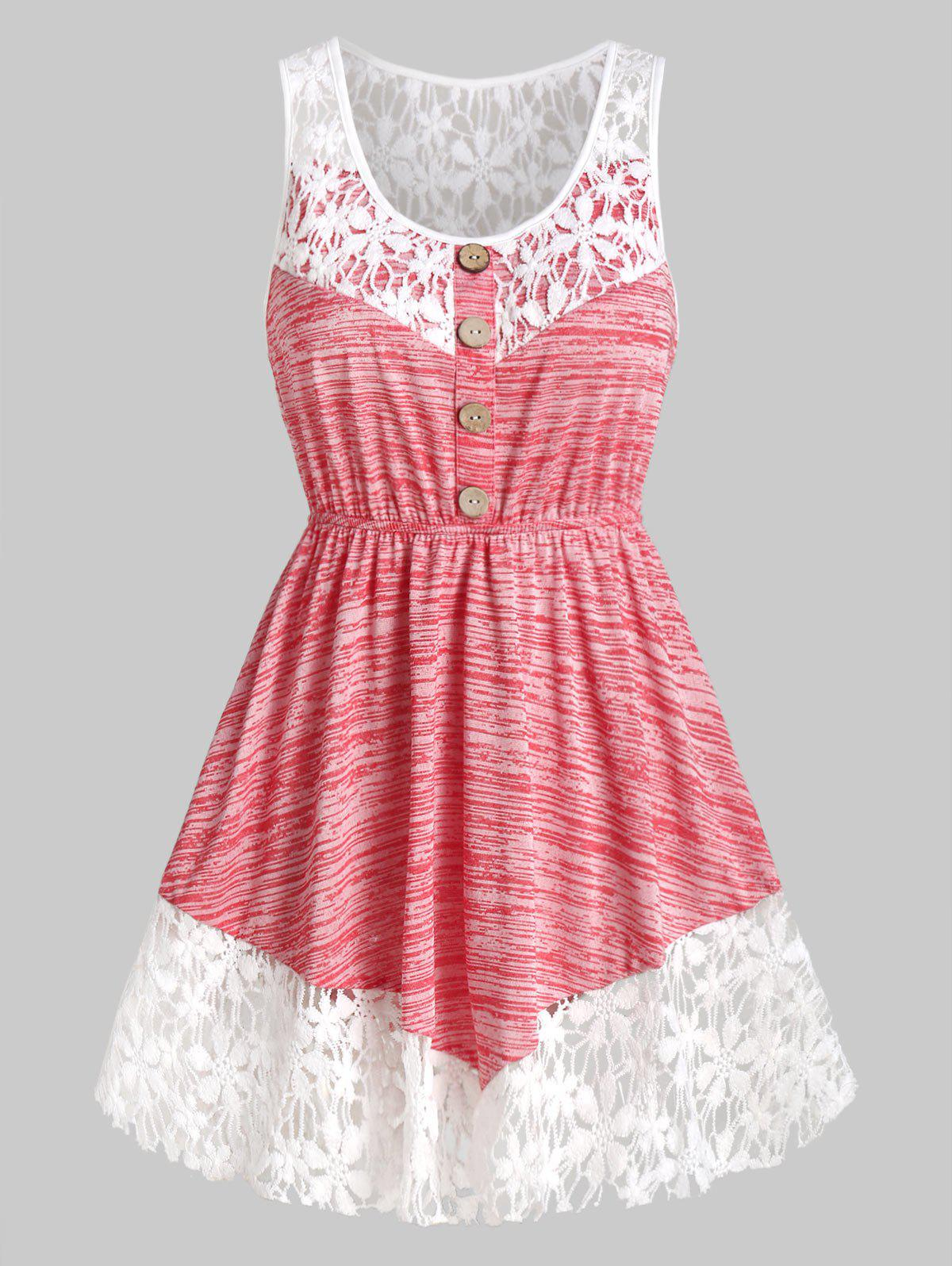Fancy Contrast Lace Marled Tank Top