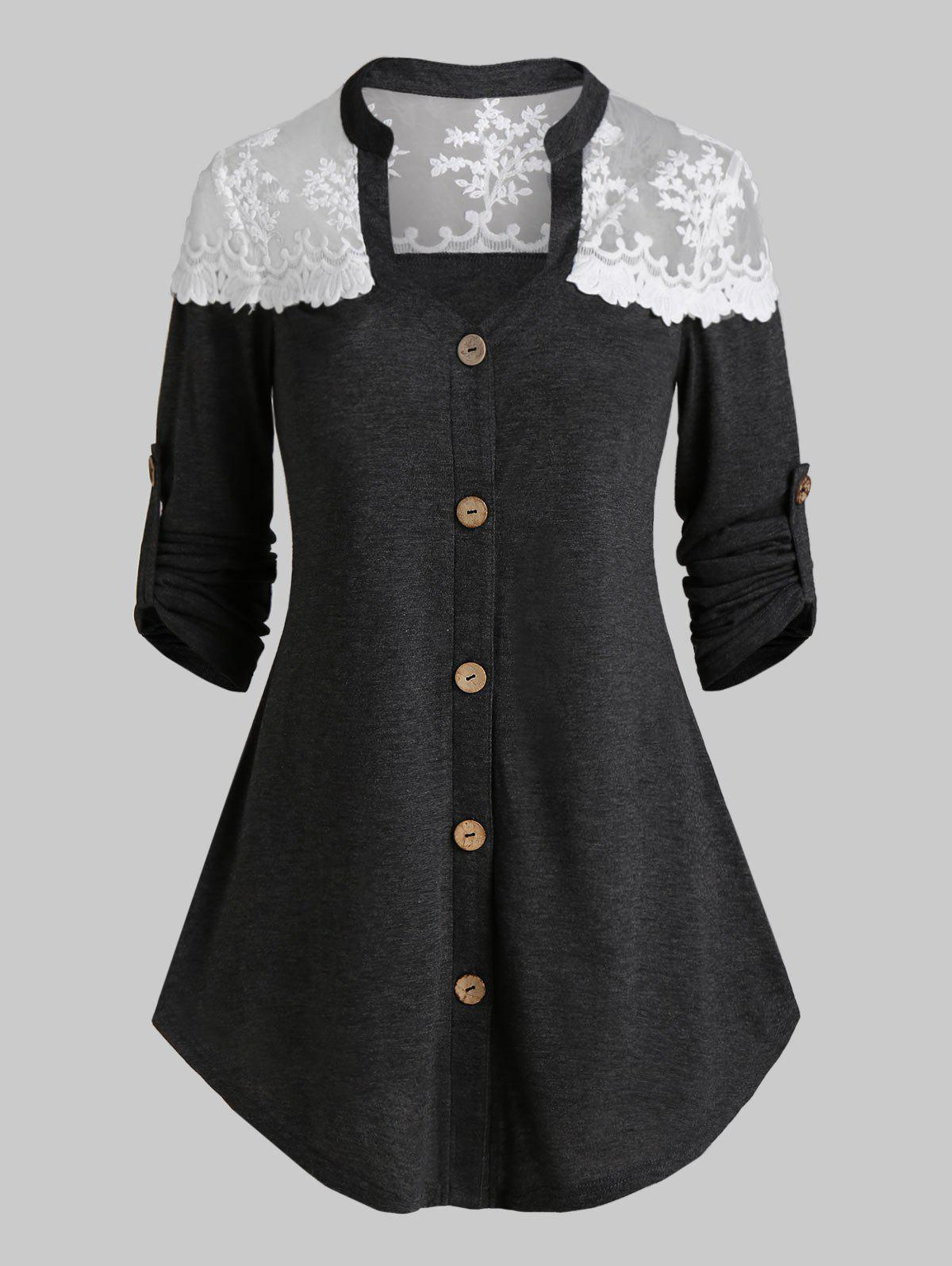 Outfits Button Up Lace Insert Heathered T-shirt