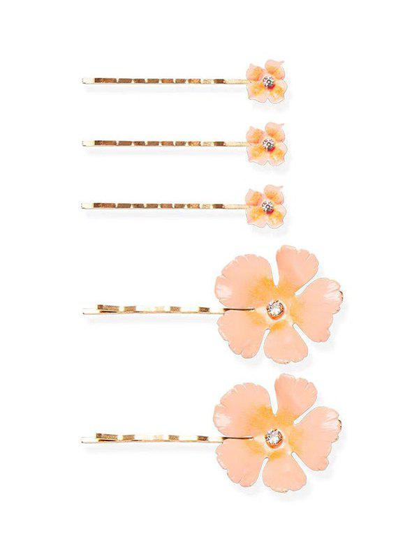 5Pcs Flowers Rhinestone Bridal Hairpins Set, Light pink