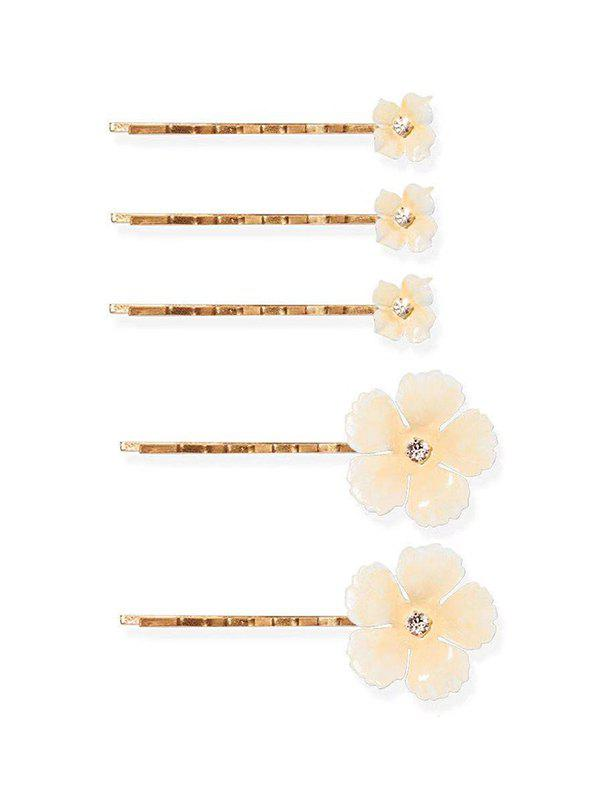 5Pcs Flowers Rhinestone Bridal Hairpins Set, Warm white