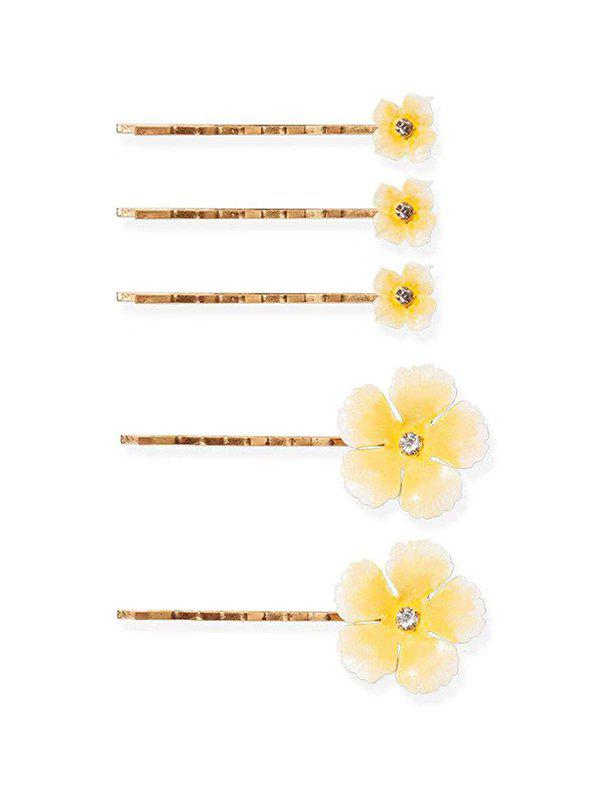 5Pcs Flowers Rhinestone Bridal Hairpins Set, Light yellow