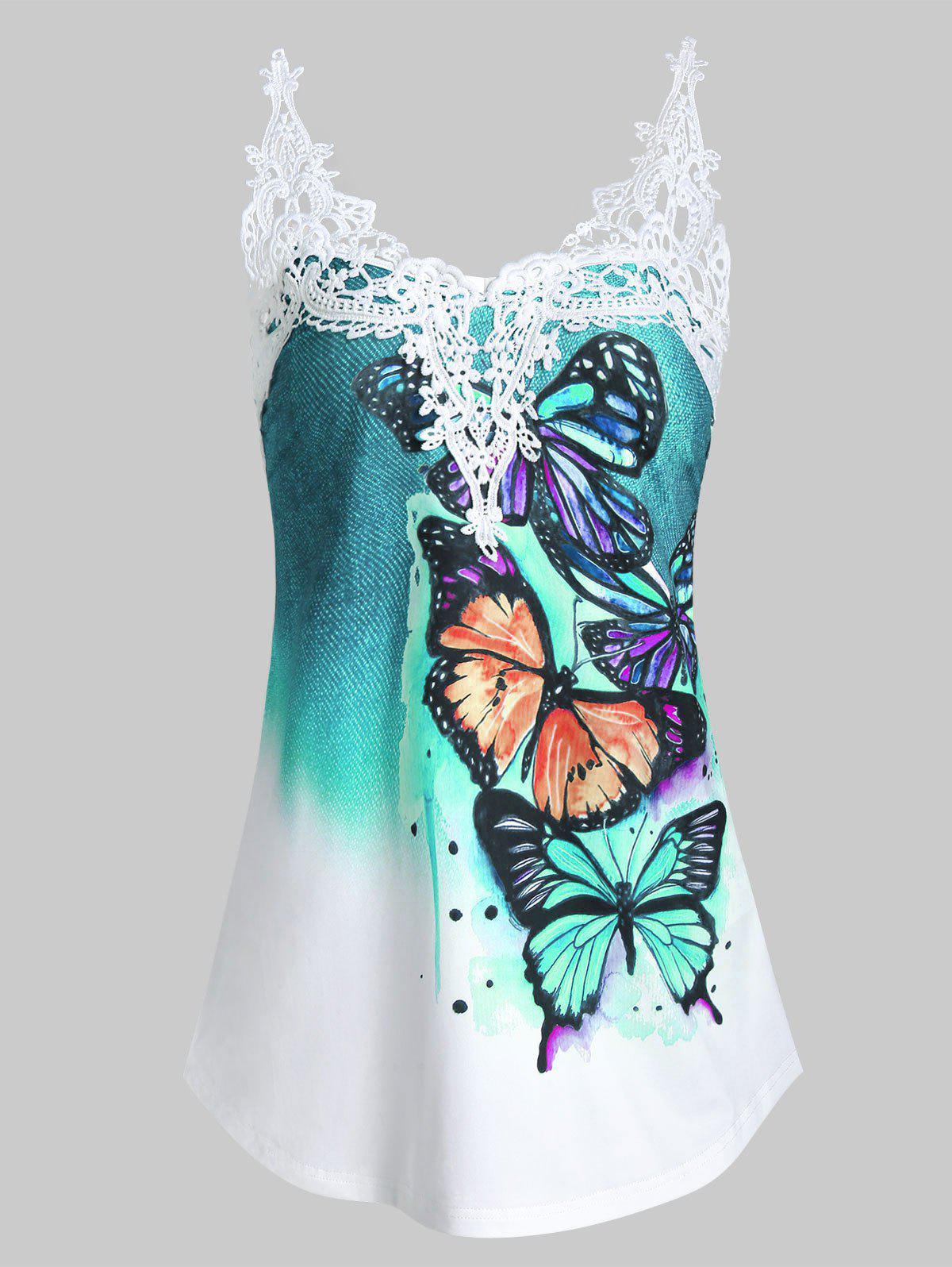 Butterfly Print Contrast Lace Panel Tank Top фото