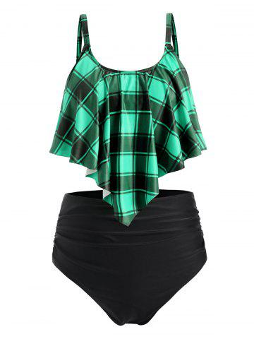 Plus Size Plaid Flounce Tummy Control Tankini Swimwear