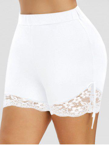 Plus Size Bowknot Lace Edge Shorts - WHITE - 1X