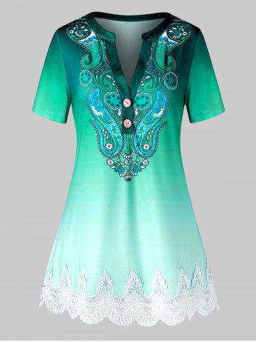 Plus Size Paisley Ombre Guipure Lace Panel V Notch Tee - DEEP GREEN - 2X