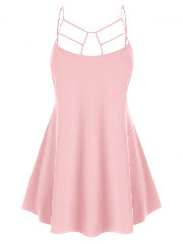Plus Size Cut Out Swing Cami Top - PINK - 1X