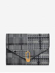 Plaid Geometric PU Tri-fold Wallet -