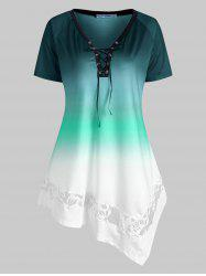 Plus Size Lace-up Ombre Lace Panel Asymmetrical Tunic Top -