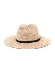 Jazz Straw Hat With Leather Detail -