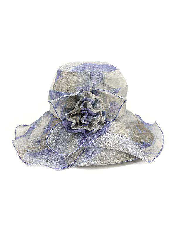 Trendy Water Color Floral Wide Brimmed Beach Sun Hat