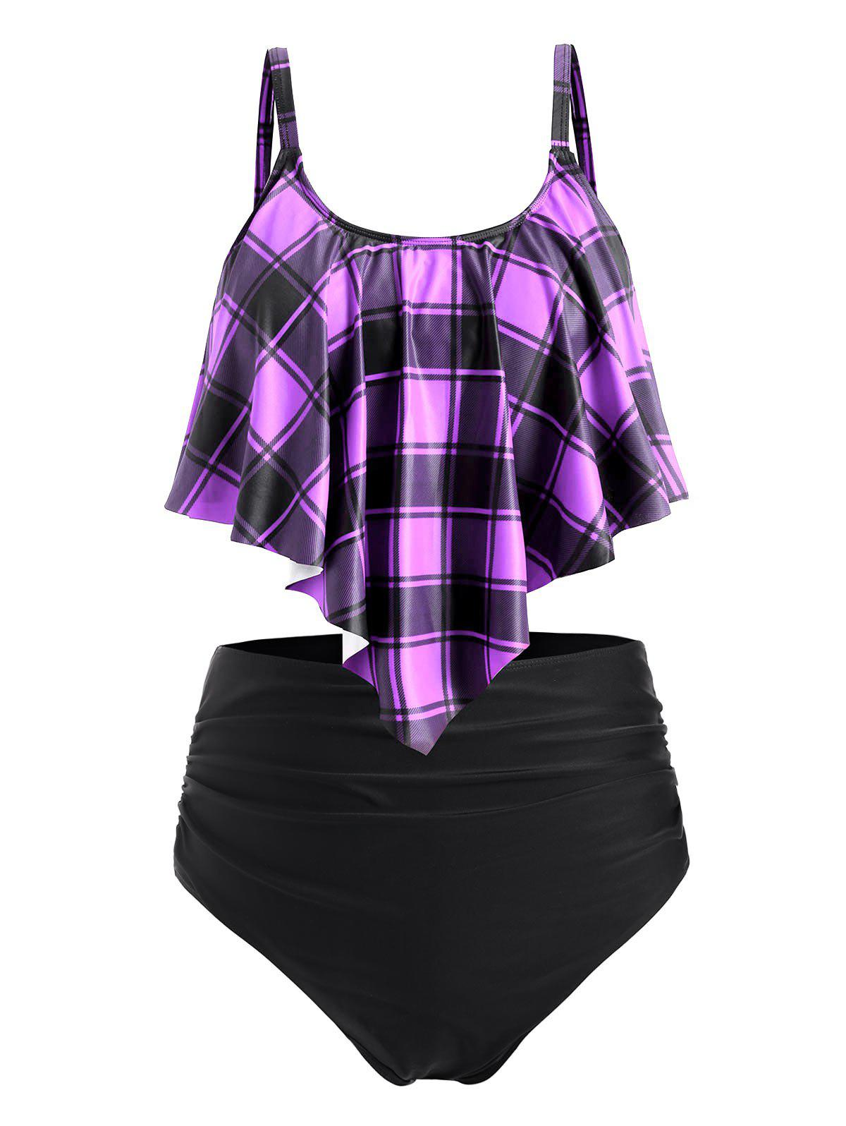 Discount Plus Size Plaid Flounce Tummy Control Tankini Swimwear