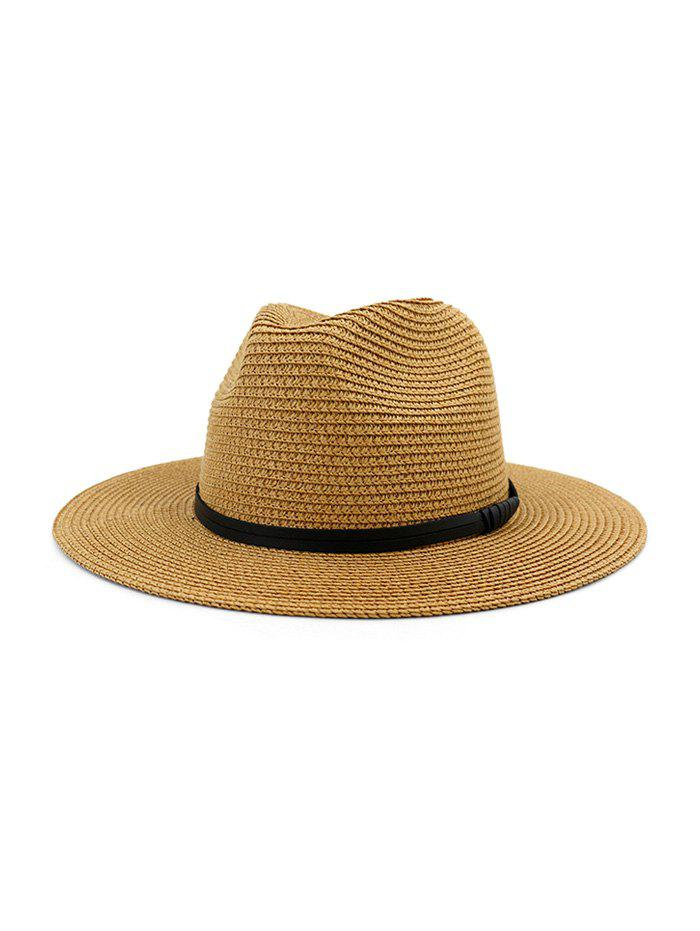Cheap Jazz Straw Hat With Leather Detail
