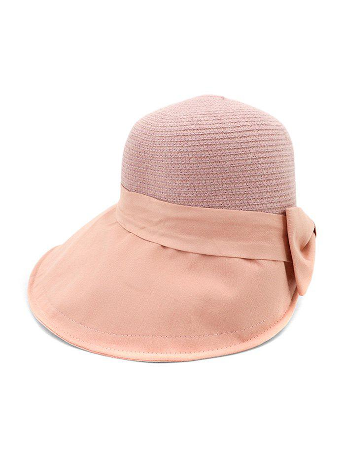 Hot Back Bowknot Wide Brim Basin Straw Hat