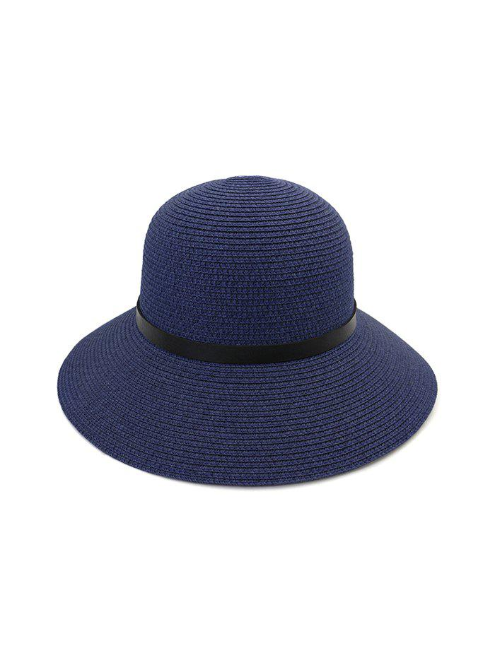 Buy Wide Brim Straw Hat With Leather Detail