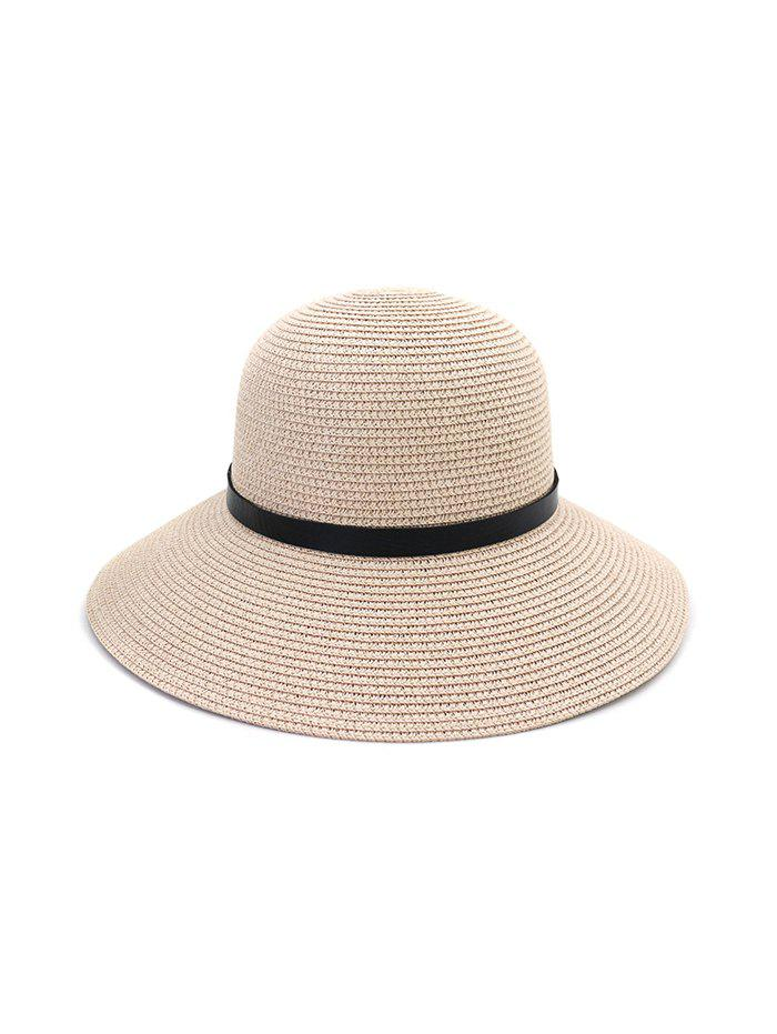 Discount Wide Brim Straw Hat With Leather Detail