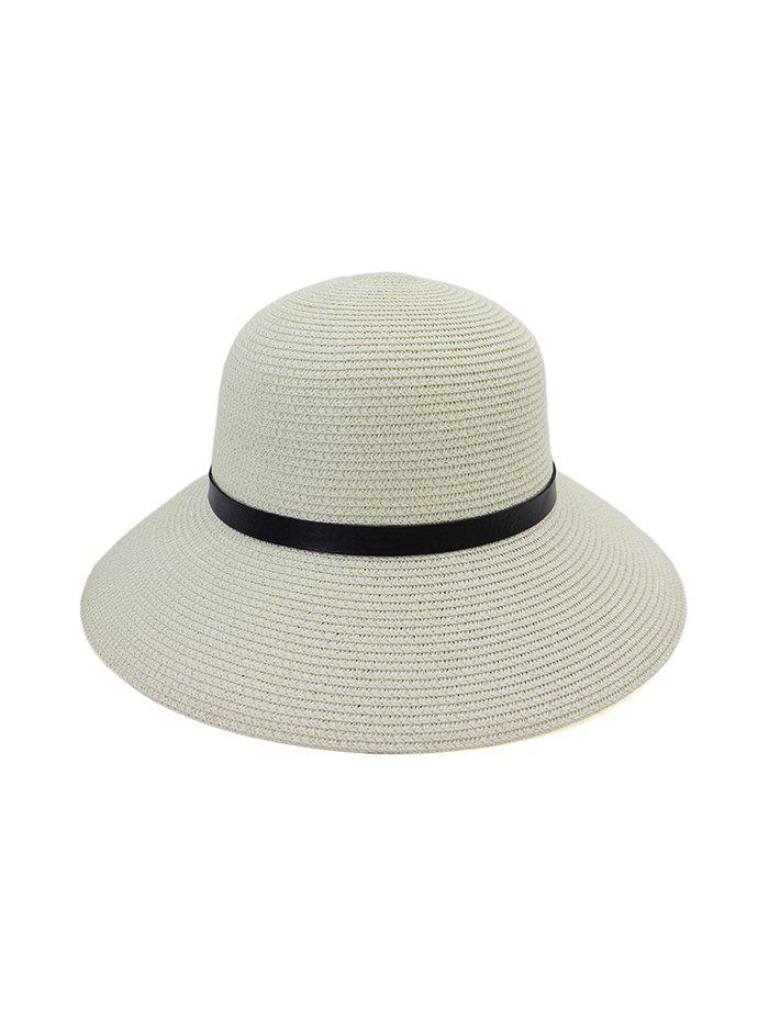 Sale Wide Brim Straw Hat With Leather Detail