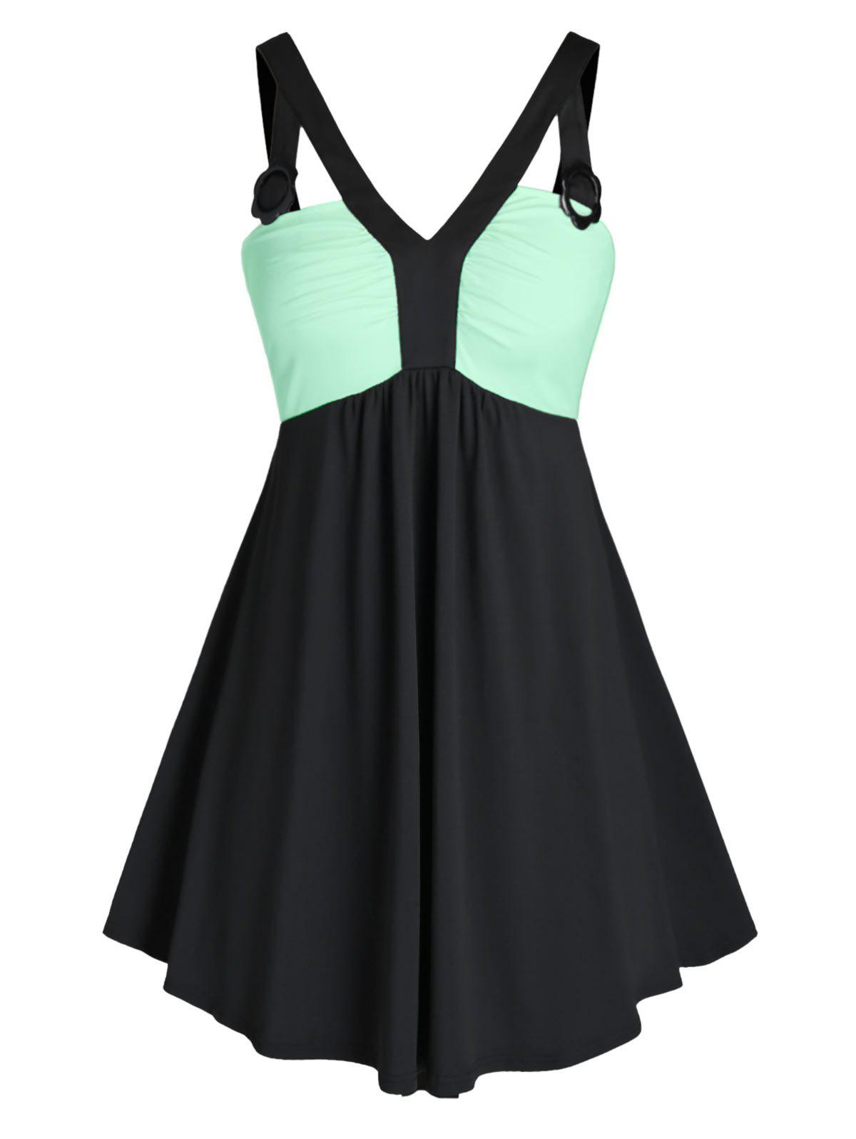 Hot Plus Size Splicing Two Tone Colorblock Tank Top