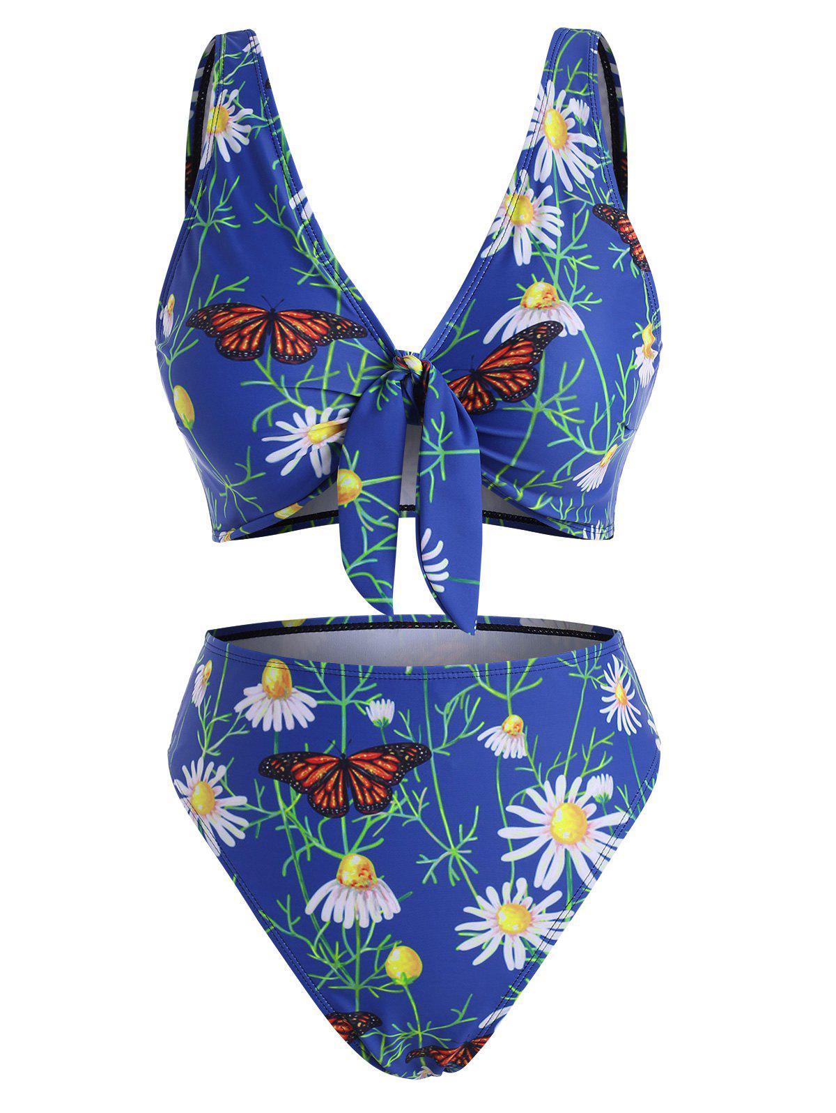 Store Daisy Butterfly Floral Leaf Print Knot High Waisted Bikini Swimwear