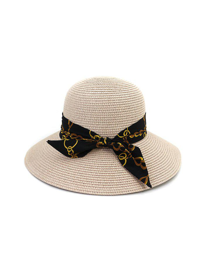 Hot Chain Print Bowknot Wide Brim Straw Hat