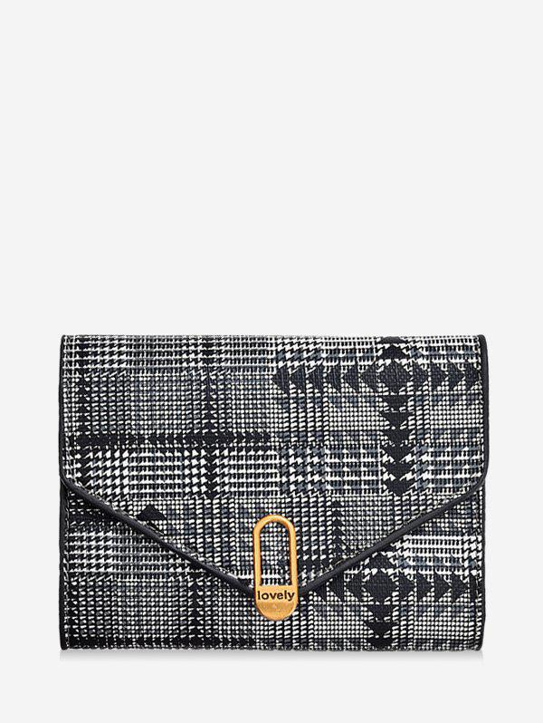 Cheap Plaid Geometric PU Tri-fold Wallet